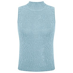 Miss Selfridge - Petites blue fluffy jumper