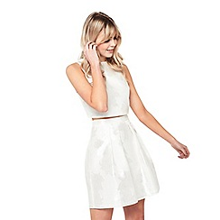 Miss Selfridge - White lace prom mini petite skirt