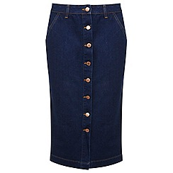 Miss Selfridge - Petites denim midi skirt