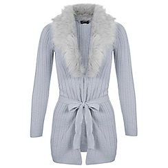 Miss Selfridge - Petites grey faux fur cardigan