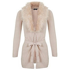 Miss Selfridge - Petites pink faux fur cardigan