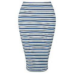 Miss Selfridge - Petites blue stripe midi skirt