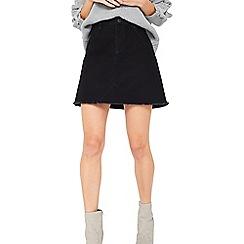 Miss Selfridge - Black denim petite mini skirt