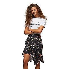 Miss Selfridge - Petite black floral skirt