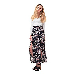 Miss Selfridge - Petites floral wrap maxi skirt