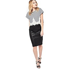 Miss Selfridge - Petite pu midi skirt