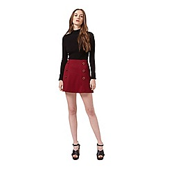 Miss Selfridge - Petites burgundy button skirt