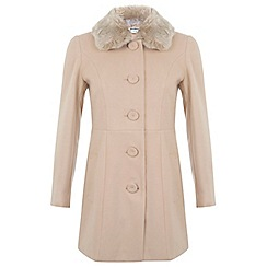 Miss Selfridge - Petites camel fur collar coat