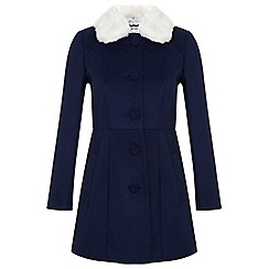 Miss Selfridge - Petites navy fur collar coat