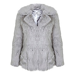 Miss Selfridge - Petites grey faux fur coat
