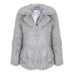 Miss Selfridge - Petites grey faux fur coat
