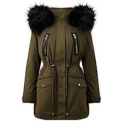 Miss Selfridge - Petite khaki lux parka coat