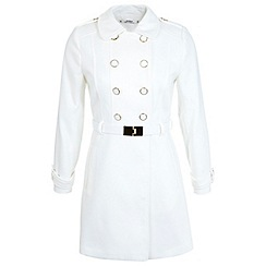 Miss Selfridge - Petites white military coat