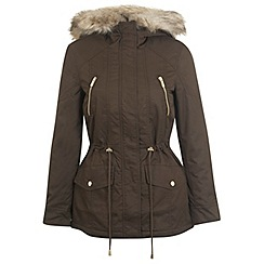Miss Selfridge - Petites khaki parka coat