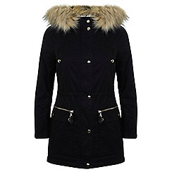 Miss Selfridge - Petites black luxe parka coat