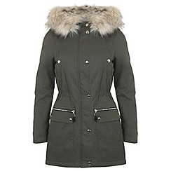 Miss Selfridge - Petites khaki luxe parka coat