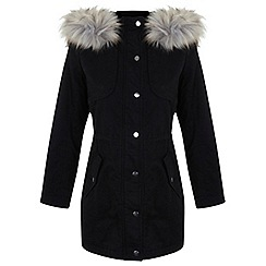 Miss Selfridge - Petites black parka coat
