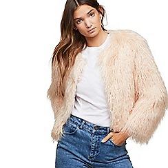 Miss Selfridge - Petite faux mongolian jacket