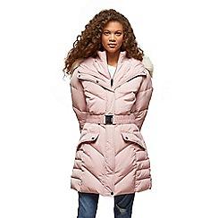 Miss Selfridge - Petites pink belted puffa coat