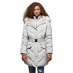 Miss Selfridge - Petites silver belted puffa coat