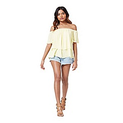 Miss Selfridge - Petites lemon frill bardot top