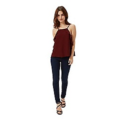 Miss Selfridge - Petites burgundy frill cami