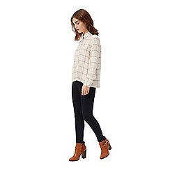 Miss Selfridge - Petites ivory check shirt