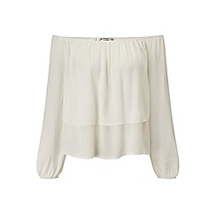 Miss Selfridge - Petites ivory frill bardot top