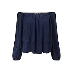 Miss Selfridge - Petites navy frill bardot top