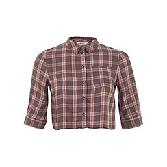 Miss Selfridge - Petites check crop shirt