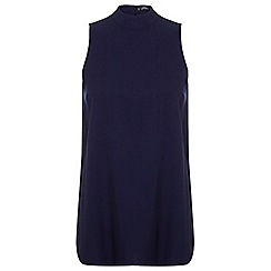 Miss Selfridge - Petites navy split back top