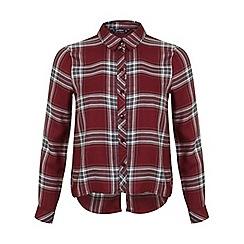 Miss Selfridge - Petites burgundy check shirt