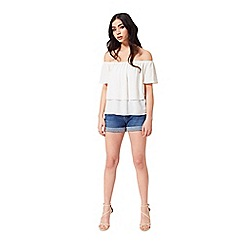 Miss Selfridge - Ivory short sleeve bardot top