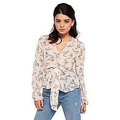 Miss Selfridge - Petite printed wrap blouse