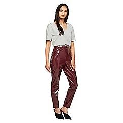 Miss Selfridge - Burgundy vinyl steffi trousers