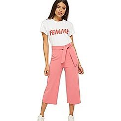 Miss Selfridge - Pink tie crop trousers