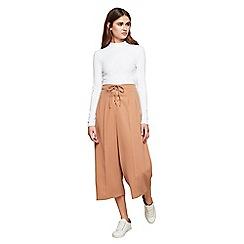Miss Selfridge - Camel lace up wide leg trousers