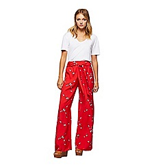 Miss Selfridge - Red floral wide leg trousers