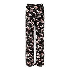 Miss Selfridge - Black flroal wide leg trouser