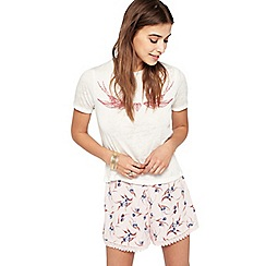 Miss Selfridge - Pink print crochet hem shorts