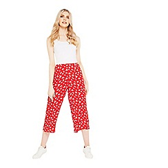 Miss Selfridge - Red print cropped trousers