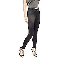 Miss Selfridge - Black shiny disco pant