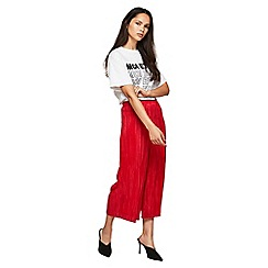 Miss Selfridge - Red plisse trousers