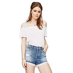 Miss Selfridge - Lace trim denim shorts