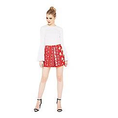 Miss Selfridge - Red crochet hem short