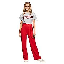 Miss Selfridge - Red tie waist wide leg trousers
