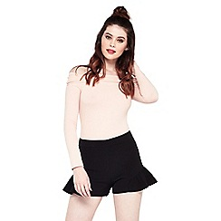 Miss Selfridge - Black frill hem shorts