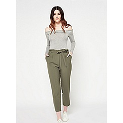 Miss Selfridge - Khaki paper bag trousers