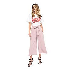 Miss Selfridge - Blush crop wide leg trousers