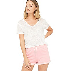 Miss Selfridge - Blush burnout jersey short